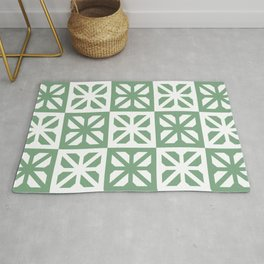 Green & white breeze blocks tiles Rug