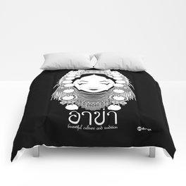 Akha Hilltribe Lady / Black Comforters