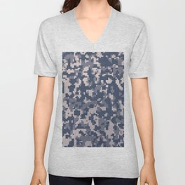 Winter Pixelated Camoflage Unisex V-Neck