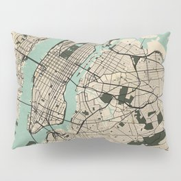 New York City Map of the United States - Vintage Pillow Sham