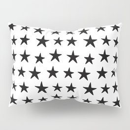 Star Pattern Black On White Pillow Sham