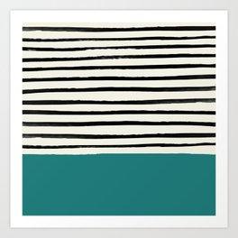 Teal x Stripes Art Print