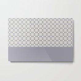 Pantone Cannoli Cream Square Petal Pattern on Pantone Lilac Gray Metal Print