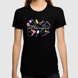 Hairapist Hairdresser Hair Stylist Barber Design On Black T-shirt