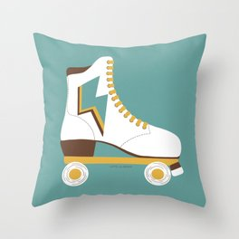 Retro Lightning Skate- White and Teal Throw Pillow