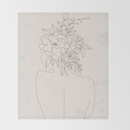 Woman with Flowers Minimal Line I Throw Blanket
