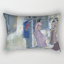 Women in front of the rented room Rectangular Pillow