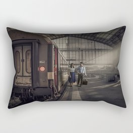 Couple in a Train Station Rectangular Pillow