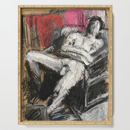 Lounging mixed media figure study Serving Tray