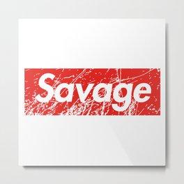 Savage Red Square Grunge Background Metal Print