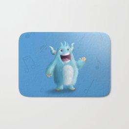 Cute little blue singer monster - Custom T Shirt Bath Mat