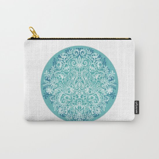 Spring Arrangement - teal & white floral doodle Carry-All Pouch