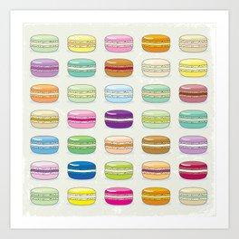 Colorful macaroon set Art Print