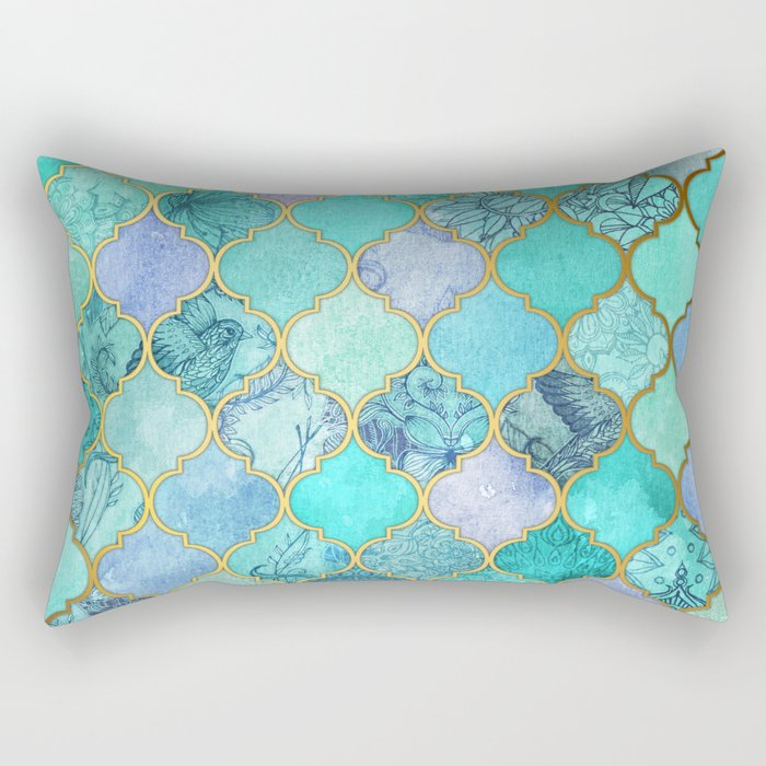 Cool Jade Icy Mint Decorative Moroccan Tile Pattern Rectangular Pillow