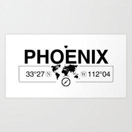 Phoenix Arizona Map GPS Coordinates Artwork with Compass Art Print