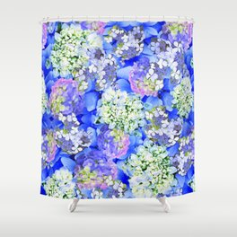 Billowing Blush in Blue Shower Curtain