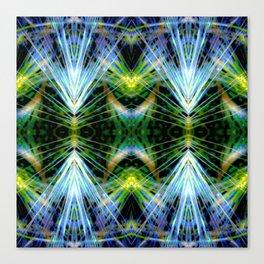 Blue Green Bright Rays,Fractal Art Canvas Print