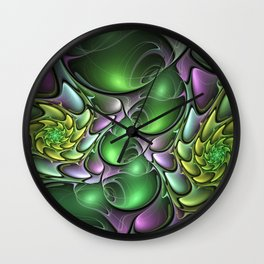 Illuminated Colors, Abstract Fractal Art Wall Clock