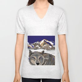 """Lone Wolf"" Paulette Lust's Original, Contemporary, Whimsical, Colorful Art  Unisex V-Neck"