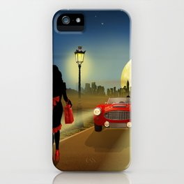 Woman on the road iPhone Case