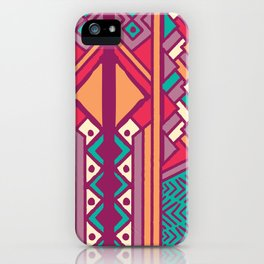 Tribal ethnic geometric pattern 001 iPhone Case
