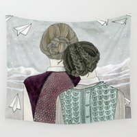 planes Wall Tapestries featuring Paper Planes by Yuliya