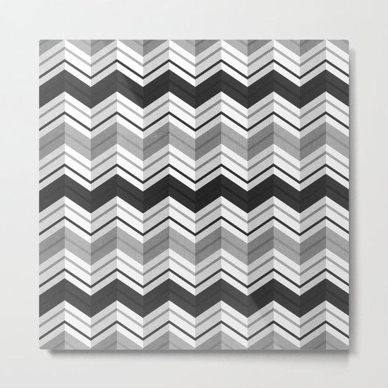 CHEVRON STRIPES - BLACK Metal Print