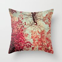 red Throw Pillows featuring Autumn Inkblot by Olivia Joy StClaire