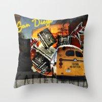 san diego Throw Pillows featuring SAN DIEGO by MFY ★ design lab