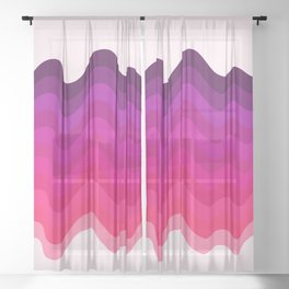 Retro Ripple in Pinks Sheer Curtain