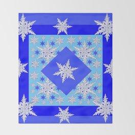 DECORATIVE BABY BLUE SNOW CRYSTALS BLUE WINTER ART Throw Blanket