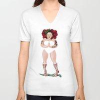 namaste V-neck T-shirts featuring NAMASTE by Giulio Rossi
