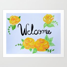 Watercolor Welcome Sign Art Print