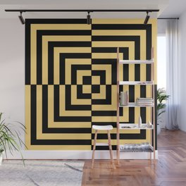 Graphic Geometric Pattern Minimal 2 Tone Illusion Squares (Golden Yellow & Black) Wall Mural