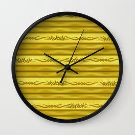 Tribal Markers on Golden Brown Stripes Wall Clock