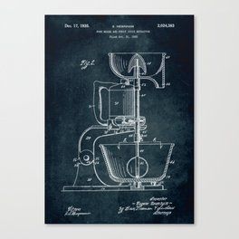 1932 - Food mixer and fruit juice extractor patent art Canvas Print