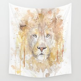 """Watercolor Painting of Picture """"African Lion"""" Wall Tapestry"""