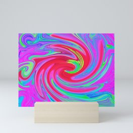 Abstract Liquid Art in Red and Purple and Fuchsia Mini Art Print