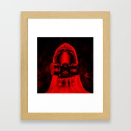 Toxic environment RED / Halftone hazmat dude Framed Art Print