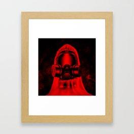 Toxic environment RED / Halftone hazmat dude Framed Art Print