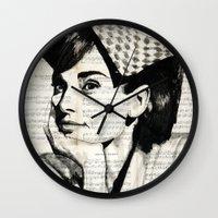 audrey Wall Clocks featuring Audrey by Krzyzanowski Art