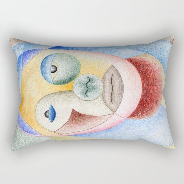 Face with circles Rectangular Pillow