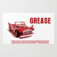 grease Area & Throw Rugs featuring Grease Movie Poster by FunnyFaceArt