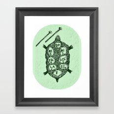 Turtle on Green Framed Art Print