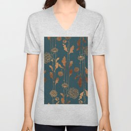 Art Deco Copper Flowers Unisex V-Neck