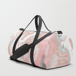 Modern rose gold glitter coral gray pastel marble marbling effect pattern Duffle Bag