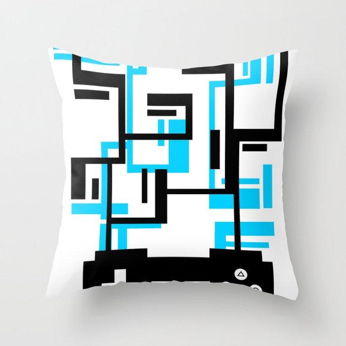 8-BIT JOYSTICK (BLUE AND BLACK) Throw Pillow