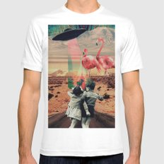 Pink Flamingos Mens Fitted Tee MEDIUM White