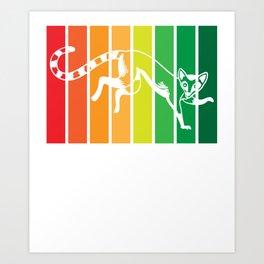 Lemur Monkeys Funny Animal Love Lovers Art Print
