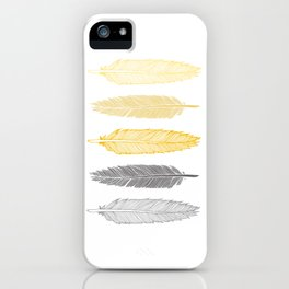 5 Grey & Gold Feathers iPhone Case